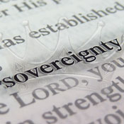 Picture of Bible, focused on word Sovereignty