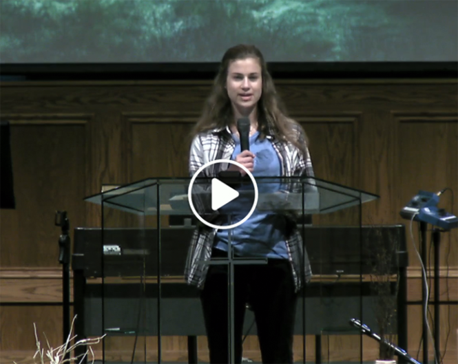 Maria speaks at the first virtually held FCS Chapel on April 14, 2020