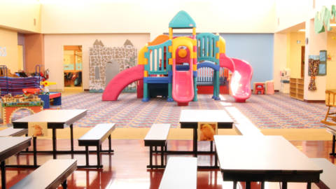 both our east and west side facilities include secure classrooms technology integration outdoor indoor spaces lunch areas preschool table i86 lunch