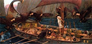 """Ulysses and the Sirens [Harpies]"" by J.W. Waterhouse, 1891 [National Gallery of Victoria]"