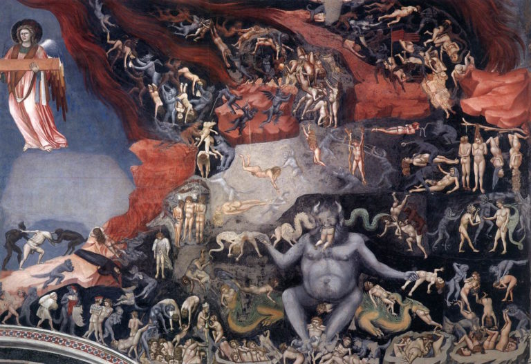 Satan and the damned in The Last Judgment by Giotto (di Bondone), 1306 [Cappella Scrovegni, Padua]