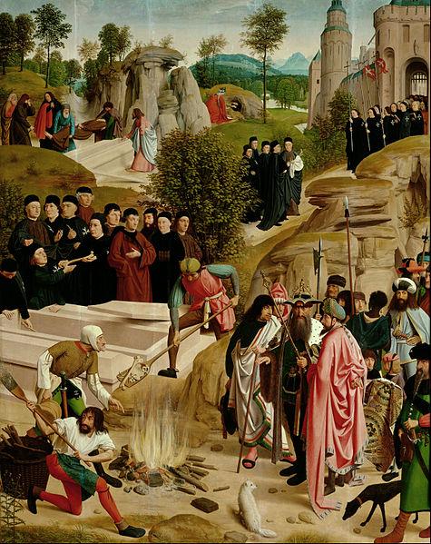 Julian the Apostate burns the relics of John the Baptist (Legend of the Relics of St. John the Baptist) by Geertgen Tot sint Jans, c. 1490 [Kunsthistorisches Museum, Vienna]