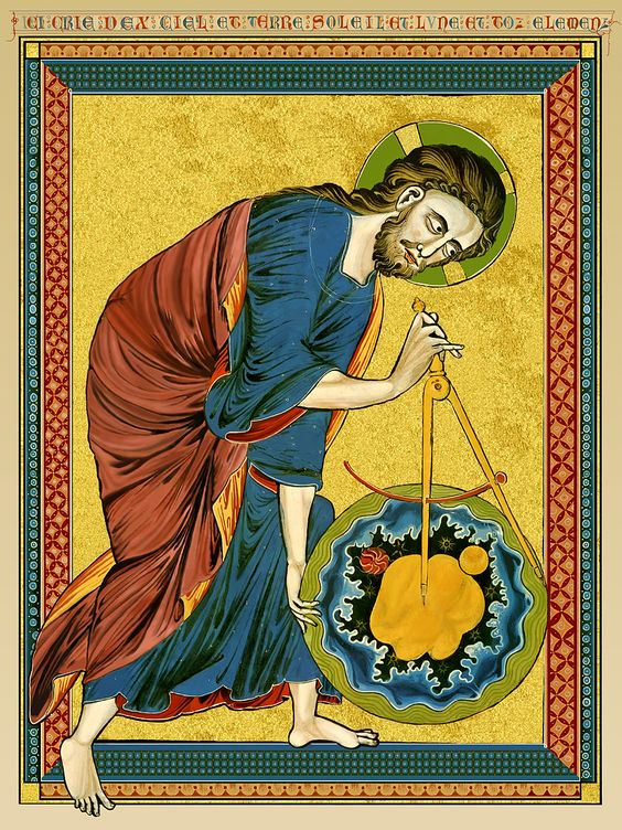 God as architect of the world, from a Bible moralisée, c. 1220 [Austrian National Library, Vienna]