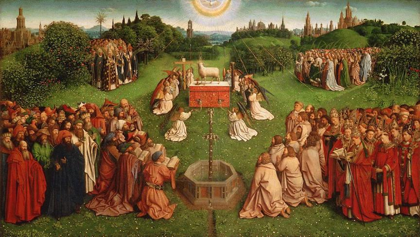 Adoration of the Mystic Lamb (Ghent Altarpiece) by Jan van Eyck, 1432 [St. Bavo's Cathedral, Ghent, Belgium]