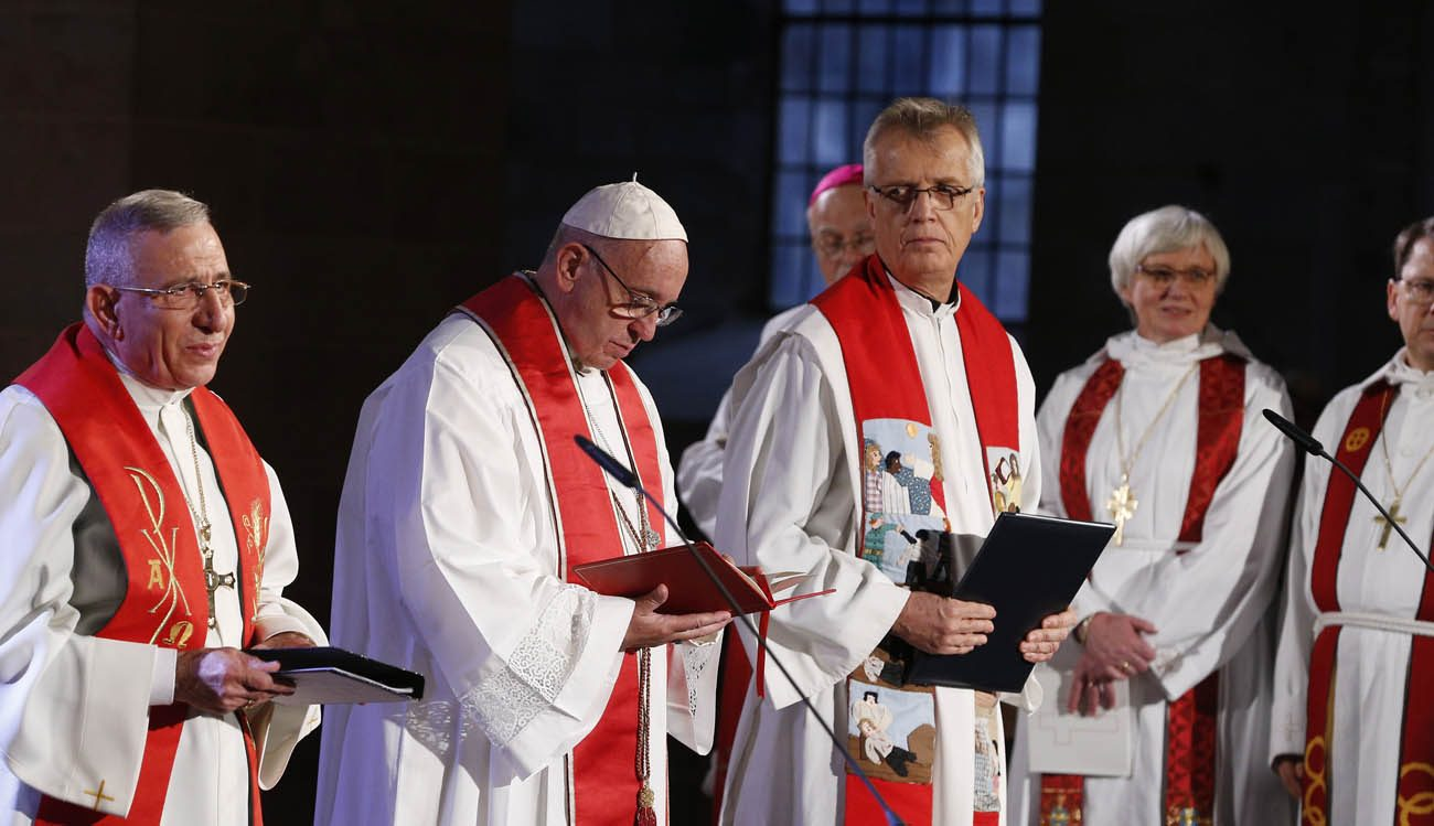 The pope and Protseant clergy in Sweden