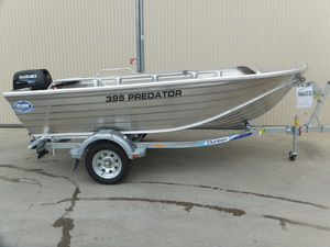 NEW 2018 CLARK 395 PREDATOR ALUMINIUM FISHING BOAT, USED 2016 SUZUKI 30 HP 2 STROKE OUTBOARD ENGINE, CHARGING SYSTEM DUNBIER TRAILER
