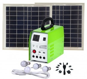 20W Solar Light Kit with 4x LED Globes & 150W built in Inverter for AC Appliances