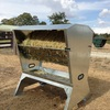 Single hay bale & grain feeder for sheep, goats, alpacas