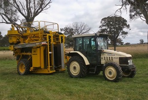 Grape Harvester/Pre-Pruner package with tractor