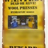 Wanted Woolpress Hydraulic Any Condtion or Age Dead or Alive