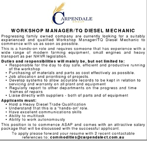 Workshop Manager/TQ Diesel Mechanic