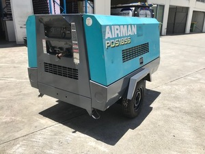 1x Airman 185 cfm diesel screw air compressor on 2 wheel trailer chassis