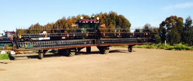 Macdon 2010 Model M150 Windrower & Carrier w 30 & 40Ft Fronts For Sale