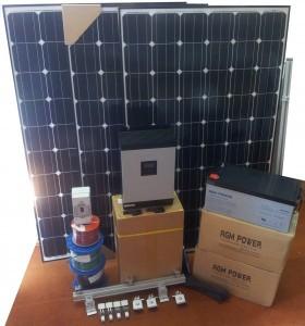 Off Grid Solar & Wind Kit – 3000W Solar – 24kWh Flooded Bank – 5KVA/ 4kW Inverter Charger + 1kva Wind Turbine