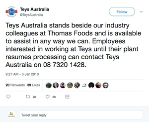 Teys offer temporary jobs to Thomas workers