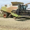 2007 Claas 580R with Claas 2200 baler attached with 45' Midwest Draper on trailer