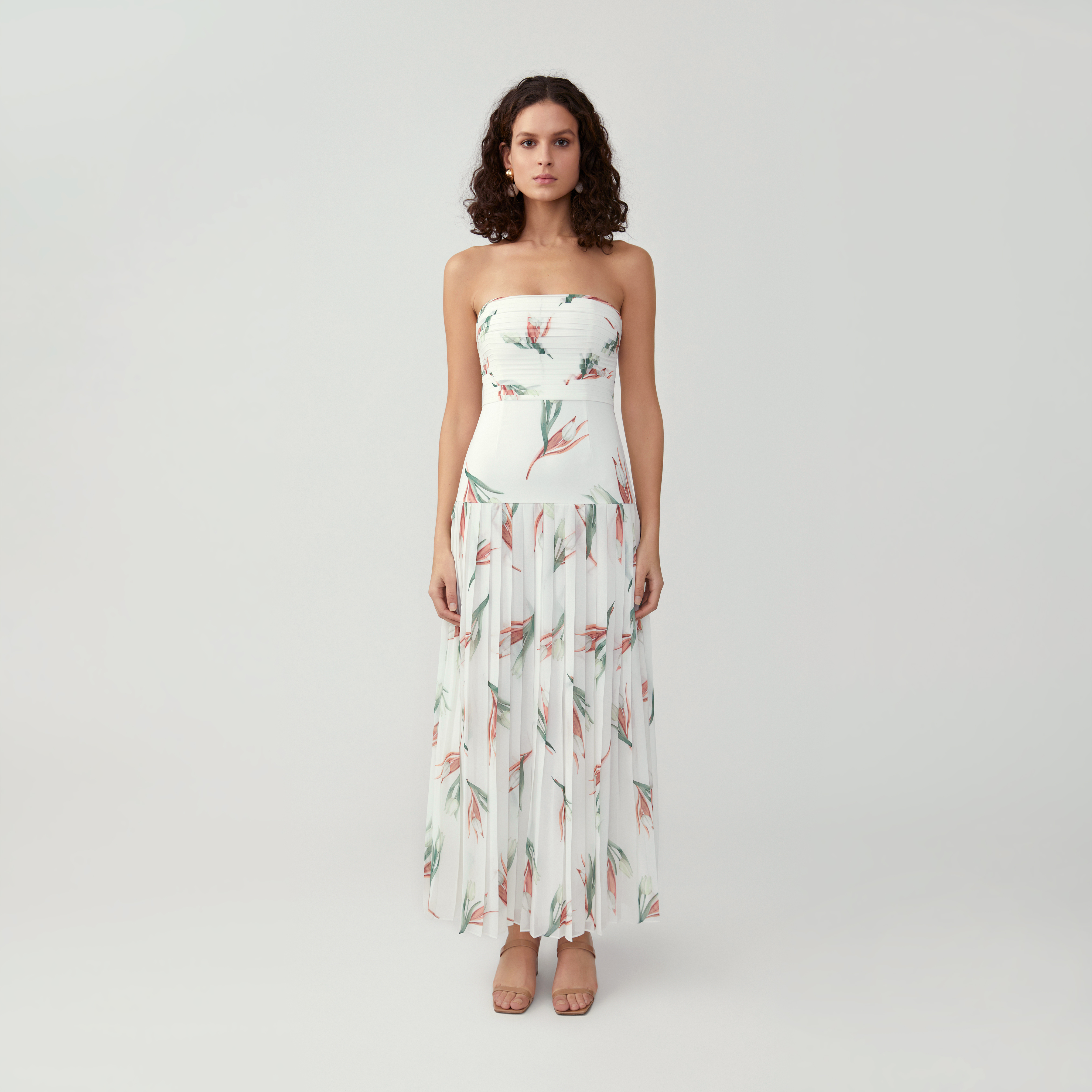 Strapless Pleated A Line Dress