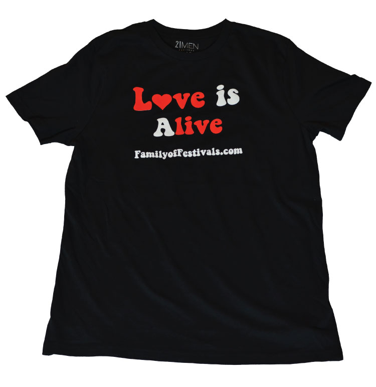 Mens Love is Alive black tee by Family of Festivals