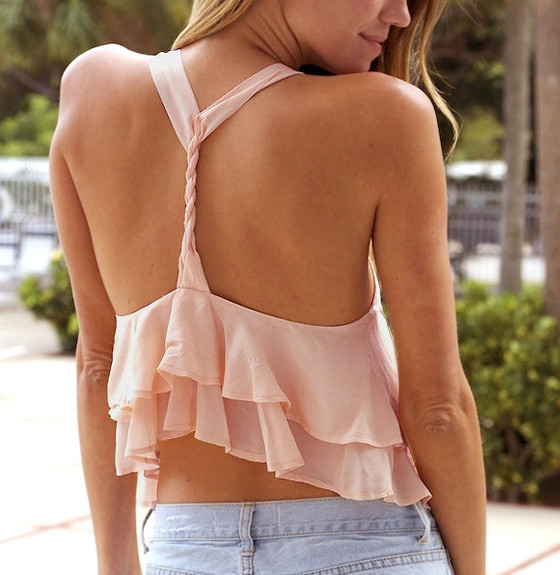 Pink Layered Y-Back Tank Top - Back