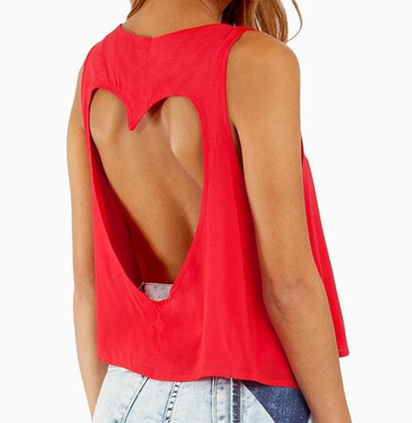Sweetheart Cutout High-Low Cropped Tee Red - Back