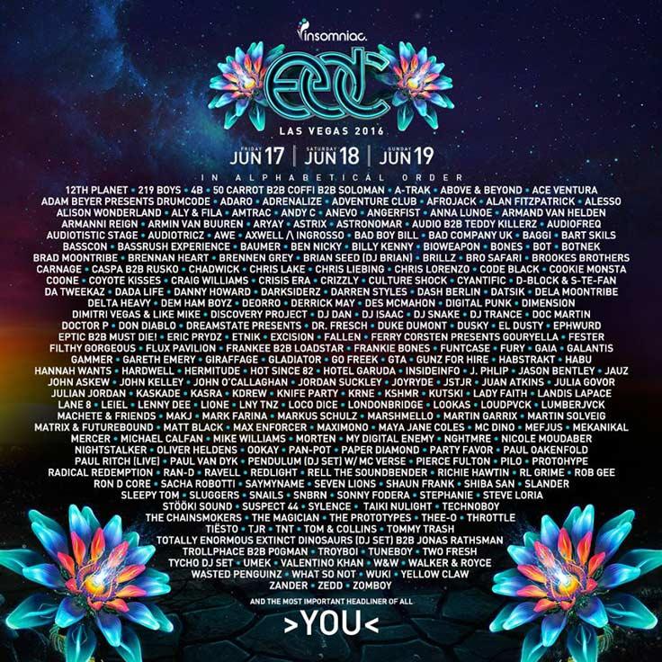 EDC Las Vegas 2016 Full Lineup