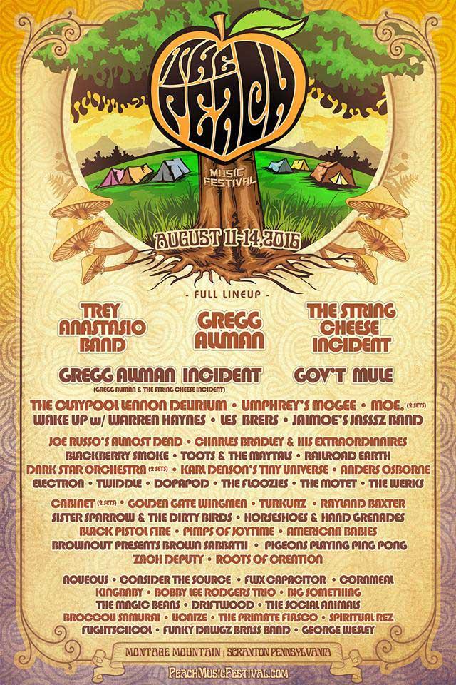 The Peach Music Festival 2016 Full Lineup