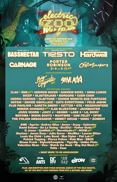 Electric Zoo: Wild Island 2016 Lineup