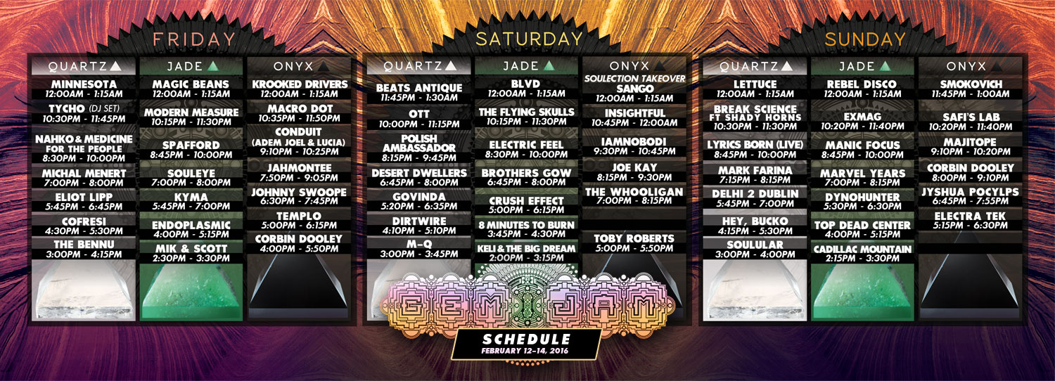 Gem and Jam Festival 2016 Schedule