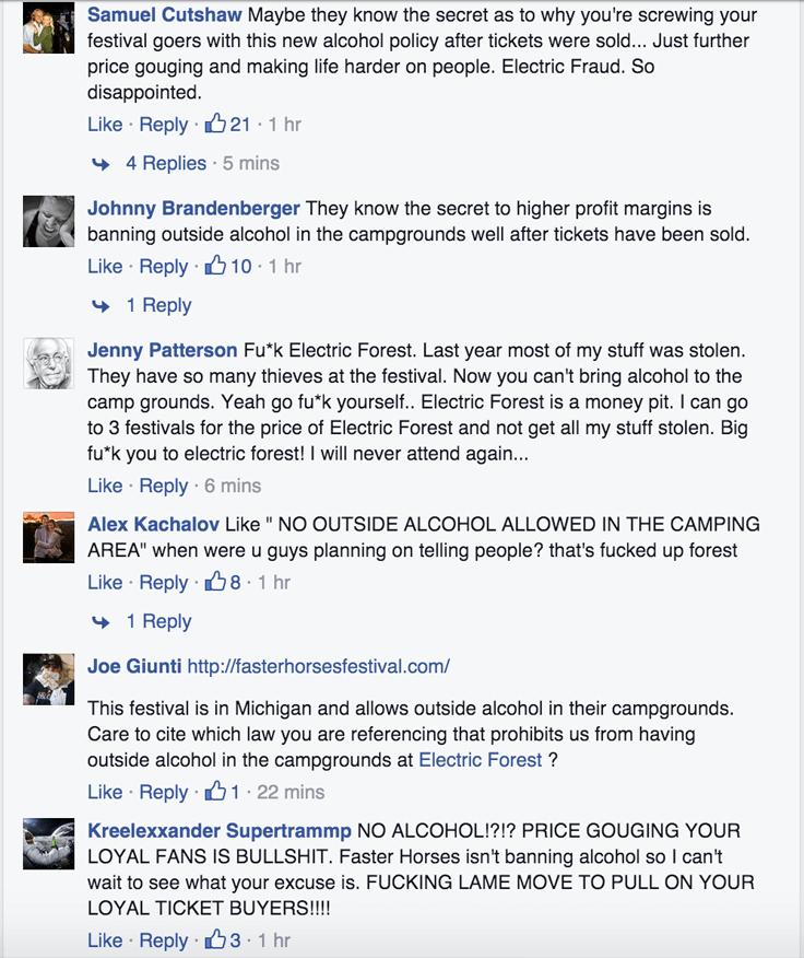 Electric Forest Bans Outside Alcohol in Campgrounds and Venue-facebook comments