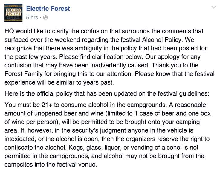 Electric Forest HQ Responds to the Recent Alcohol Ban-EF FB post