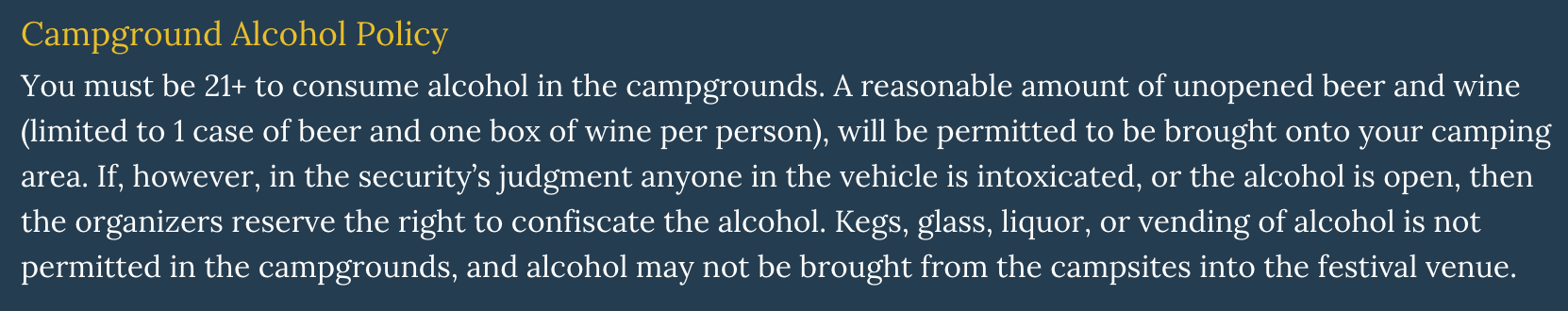 Electric Forest HQ Responds to the Recent Alcohol Ban-updated guidelines