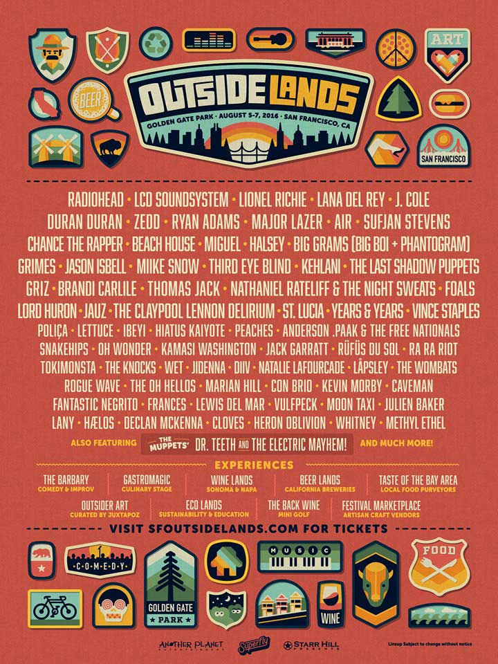 he Outside Lands 2016 lineup has some big names this year. Artists ...