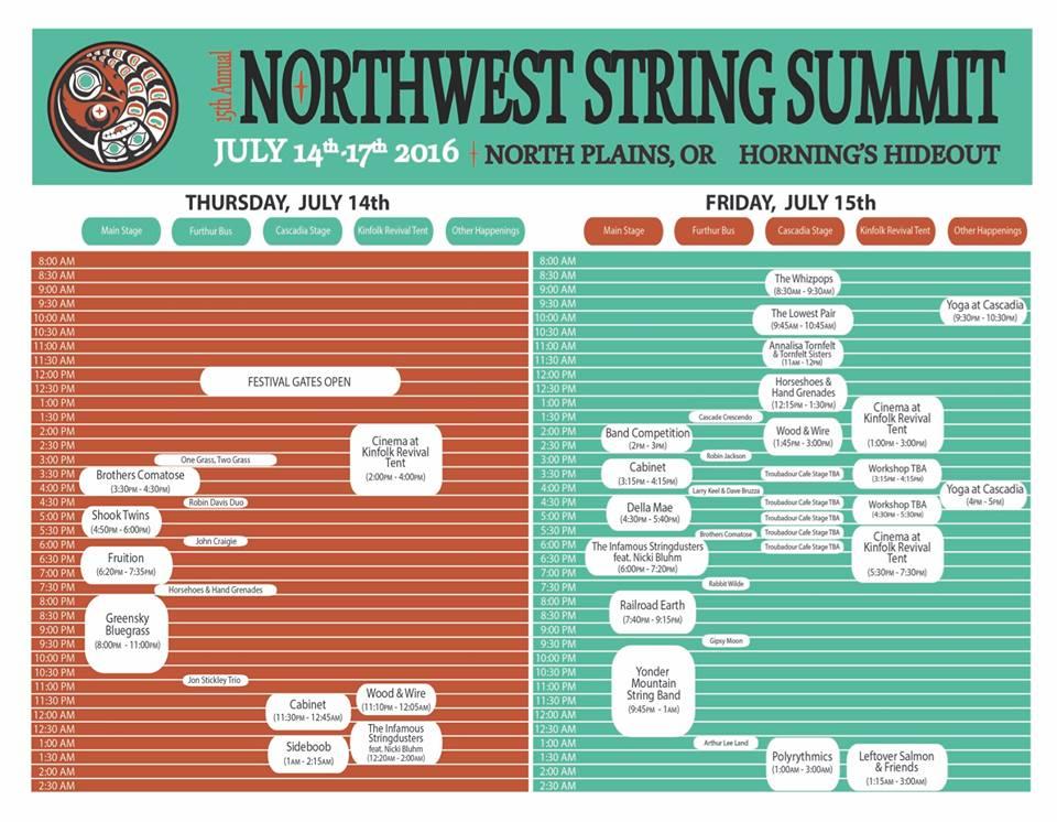 Northwest String Summit 2016 Schedule 1