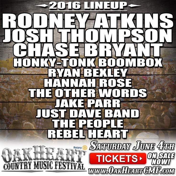 Oakheart Country Music Festival 2016 Lineup