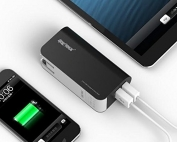 SHARKK-5000mAh-Dual-USB-Battery-Power-Bank-with-Built-in-34A-Wall-Plug-Adapter-and-Shake-Motion-Activated-for-Smartphones-and-Tablets-Black-0