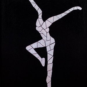 DMB Firedancer mosaic. Artwork is made of foil & acrylic on canvas.