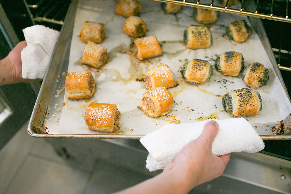 sausage rolls and spinach and feta rolls