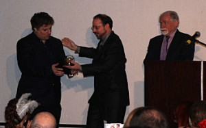Nick Sagan accepts Solstice Award on behalf of father Carl Sagan