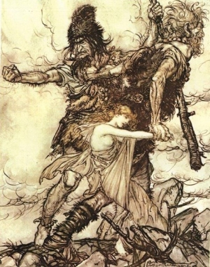 Giants and Freia by Arthur Rackham