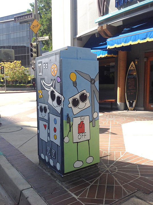 Friendly Robots; a painted utility box.