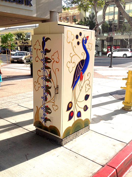 Art Nouveau Peacock pained utility box