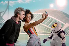 Doctor Who and companion Bill take a selfie.