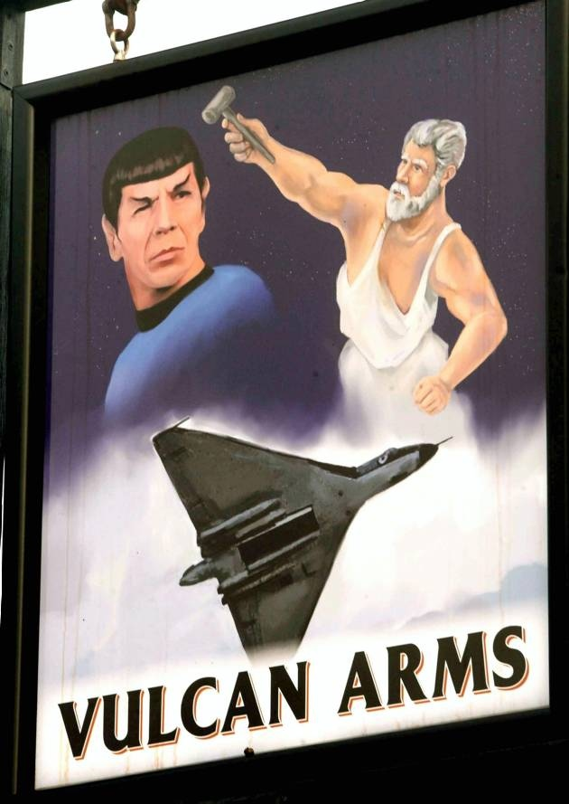 Award Winning Pub sign displays three varieties of Vulcan.