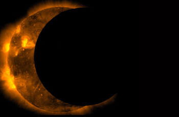 The sun shows as a crescent during an eclipse. Courtesy of NASA