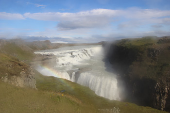 Gullfoss, a double waterfall. The blurriness is caused by mist on the lens.