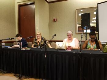 """Science fantasy"" Panel, L to R: Elisabeth Waters, Janette Adams, Terry Wyeyna (m), Nnedi Okorafor"