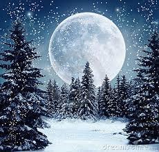 Winter full moon-- artist's depiction