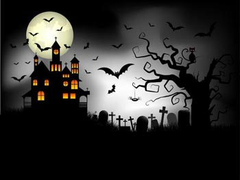 Spooky castle, full moon, bats/