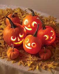 Graphic of smiling Jack o' Lanterns.