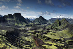 Valley and volcanoes in Iceland. Image courtesy of the Smithsonian.